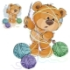 Brown Teddy Bear Holding Knitting Needle