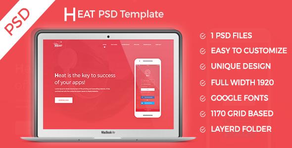 HEAT - Apps Landing PSD Template