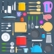 Kitchen Tools, Cookware and Kitchenware Flat Icons