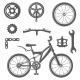 Set of Vintage Bike and Bicycle Equipment Elements