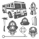 Set of Vintage Firefighter and Fire Equipment