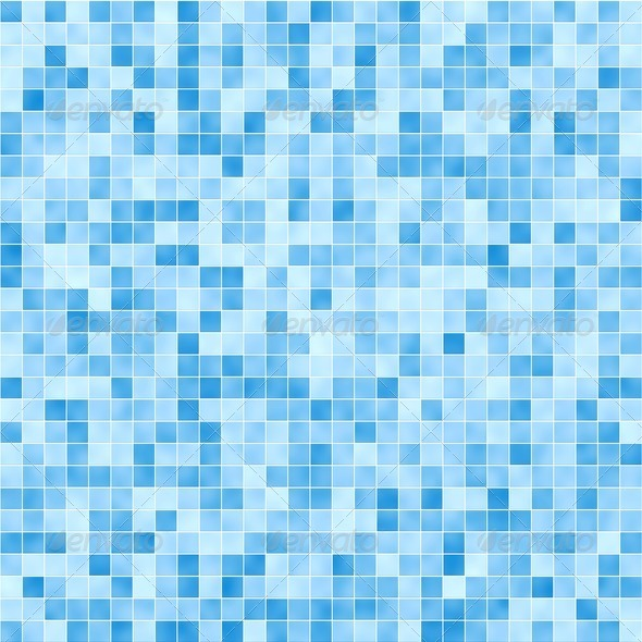 Blue mosaic tile seamless pattern – background for continuous ...