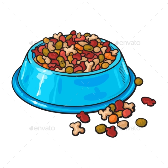 Plastic Bowl Filled with Dry Pelleted Pet