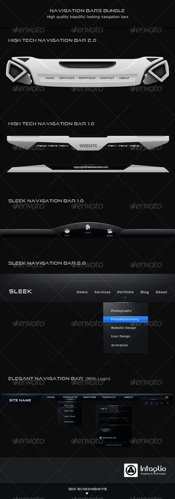 Navigation Bars Bundle - Navigation Bars Web Elements