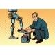 Businessman Cleans Robot