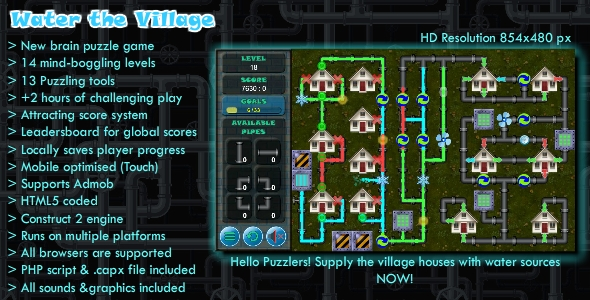 Water the Village - Mobile HTML5 Puzzle Game (.CAPX) - Admob Supported