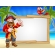 Pirate Cartoon Beach Sign Background