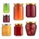 Fruit Jam Jar Glass Isolated on White Background.