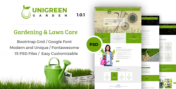Unigreen - Gardening and Lawn Care Service PSD Template
