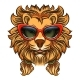 Glam Lion with Red Sunglasses