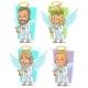 Cartoon Angels with Nimbus and Harp Character Set
