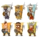 Cartoon Warriors with Spear Character Vector Set