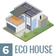 6 Isometric Eco House With Solar Panel