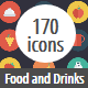 Food and Drinks Flat Circle Icons
