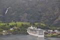 Norwegian fjord landscape. Cruise travel. Flam village. Visit Norway. Tourism