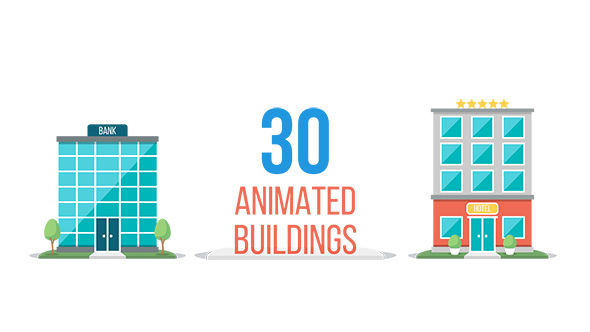 VideoHive Set of 30 Animated Buildings 20066605