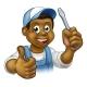 Cartoon Electrician Handyman with Screwdriver