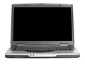 Laptop with blank black screen. Front view