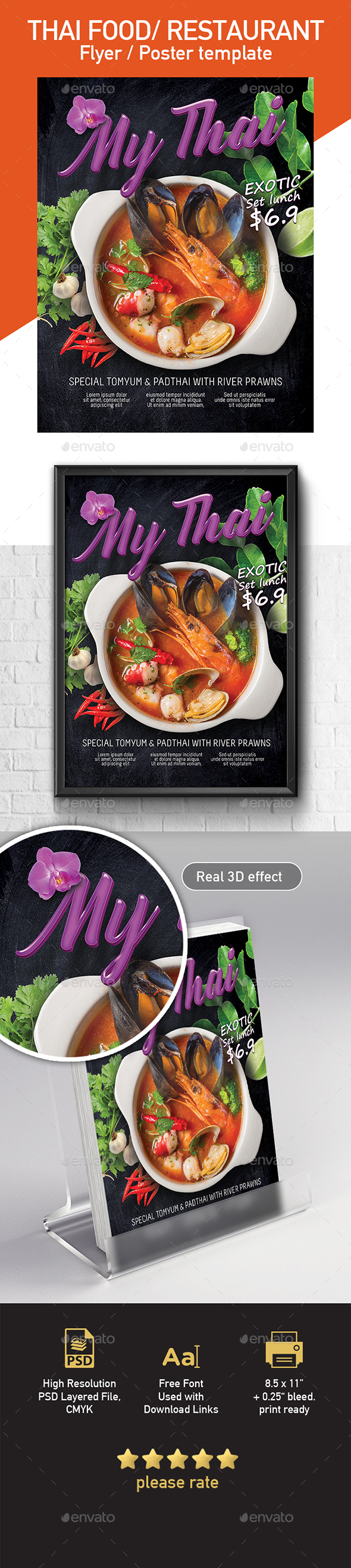 Thai Food Restaurant Poster / Flyer Template