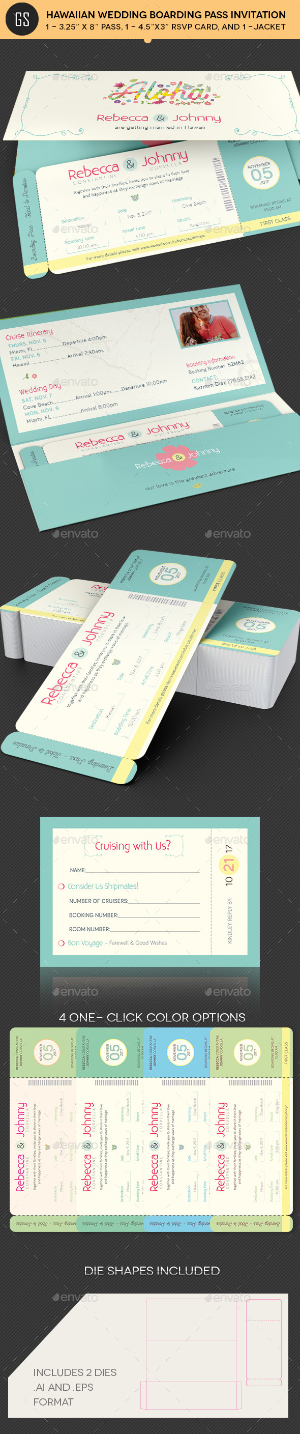 Hawaiian Wedding Boarding Pass Invitation Template
