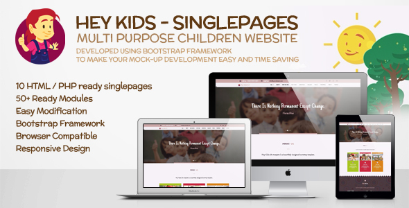 Hey Kids Responsive Multipurpose Singlepage Web Template