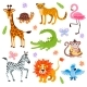 Jungle and Safari Animals Vector Set for Kids