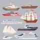 Set of Different Vessels. Sea Boats and Other Big