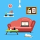 Home Office or Freelancer Interior with Sofa