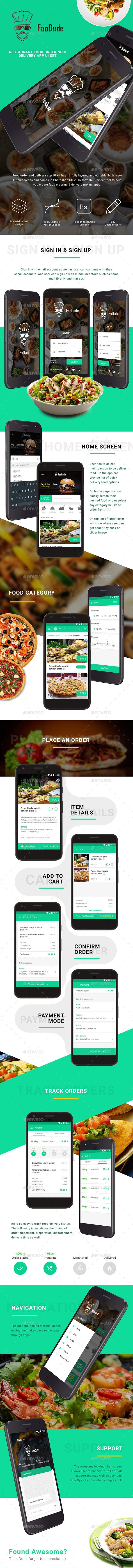 FooDude  |  Food Ordering & Delivery App UI Set (User Interfaces)