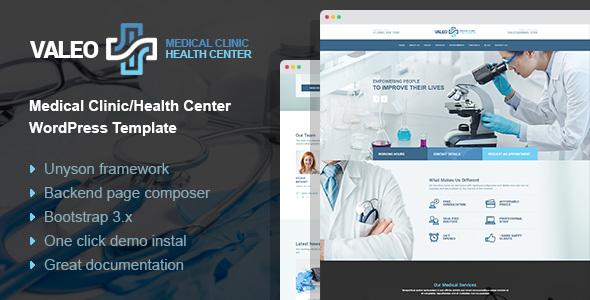 Valeo - health center, clinic and hospital WordPress Theme