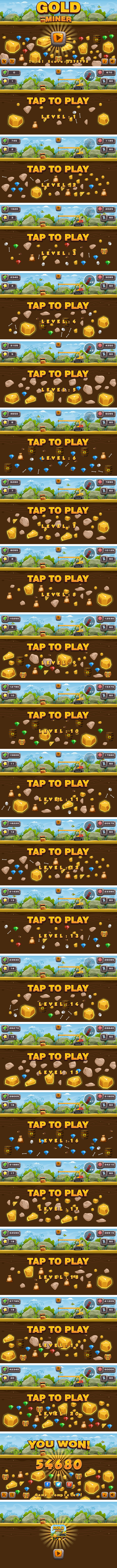 Gold Miner - HTML5 Game 20 Levels + Mobile Version! (Construct 3 | Construct 2 | Capx) - 3