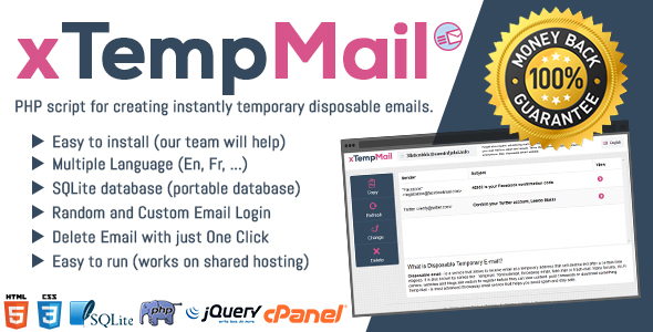 xTempMail – Temporary, Disposable Mail (PHP Scripts) images