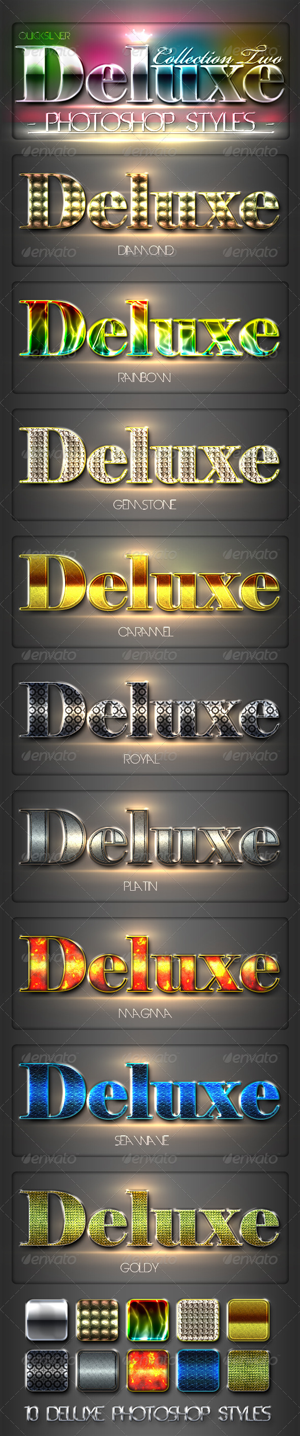 10 DeLuxe Photoshop Layer Styles Collection 2 - Text Effects Styles
