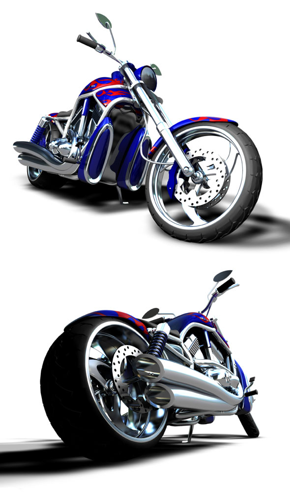 Custom Motorbike HD V-Rod - 3DOcean Item for Sale