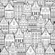 Seamless Pattern of Line Style Holland Old Houses
