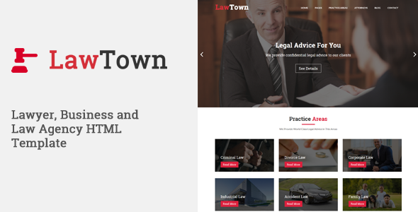 Download LawTown - Lawyer, Business and Law Agency HTML Template