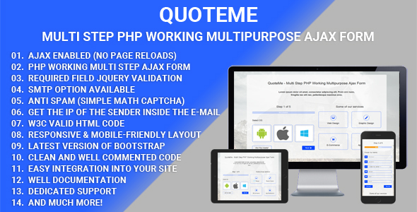 QuoteMe Multi Step PHP Working Multipurpose Ajax Form (Forms) images