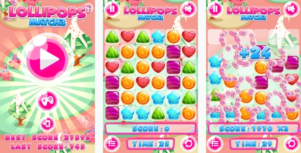 Lollipops Match3 – HTML5 Game + Mobile game! (Capx) (Games)