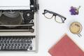 Vintage typewriter on  white background