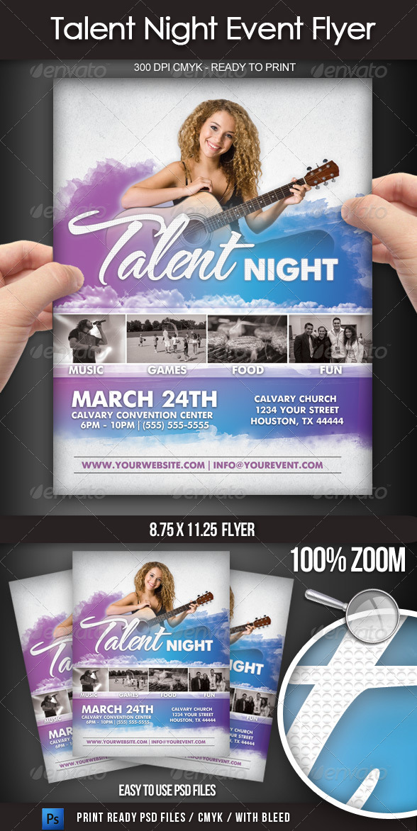 Talent Show Flyer Graphics Designs Templates