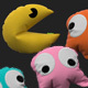 Pacman pillow set 3D model