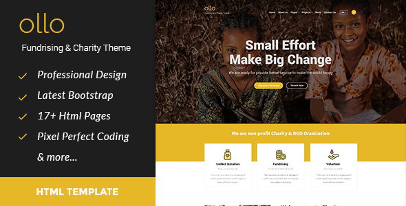 ollo Fundraising & Charity HTML Template