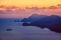 Landscape colorful sunset view of Amalfi coastline, Italy