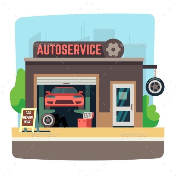 Car Repair Mechanic Shop with Automobile Inside