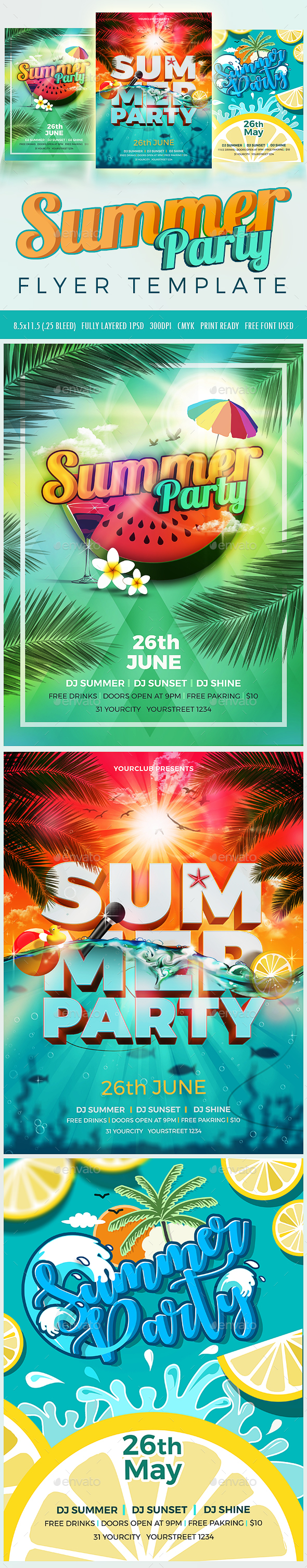3 Summer Party Flyer