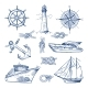 Marine Doodles Set with Ships, Boats and Nautical Items