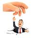 3D Big Hand Helping Businessman