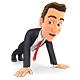 3D Businessman Doing Push-ups