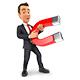 3D Businessman Holding a Magnet