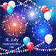 Balloons and Fireworks on Independence Day Background